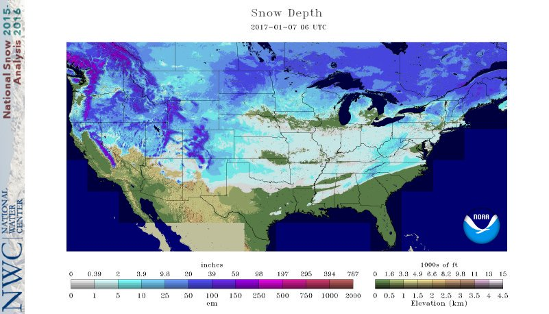 Pretty interesting to see looking at the snow analyses, all states except Florida across the lower 48 have some snow cover.
