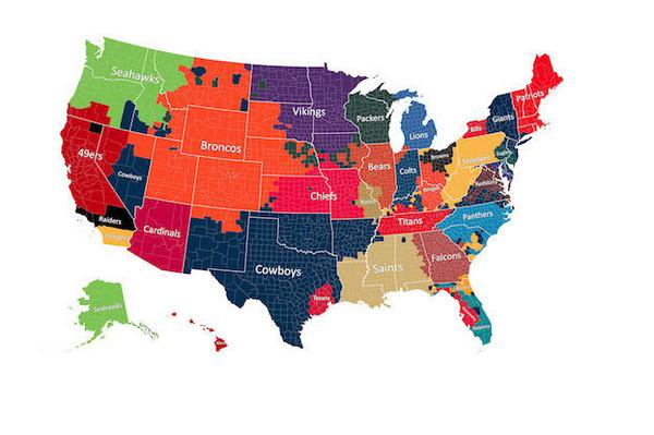 Sean Gardner On Twitter Most Popular At Nfl Teams In Areas Of The - Us-map-nfl-teams