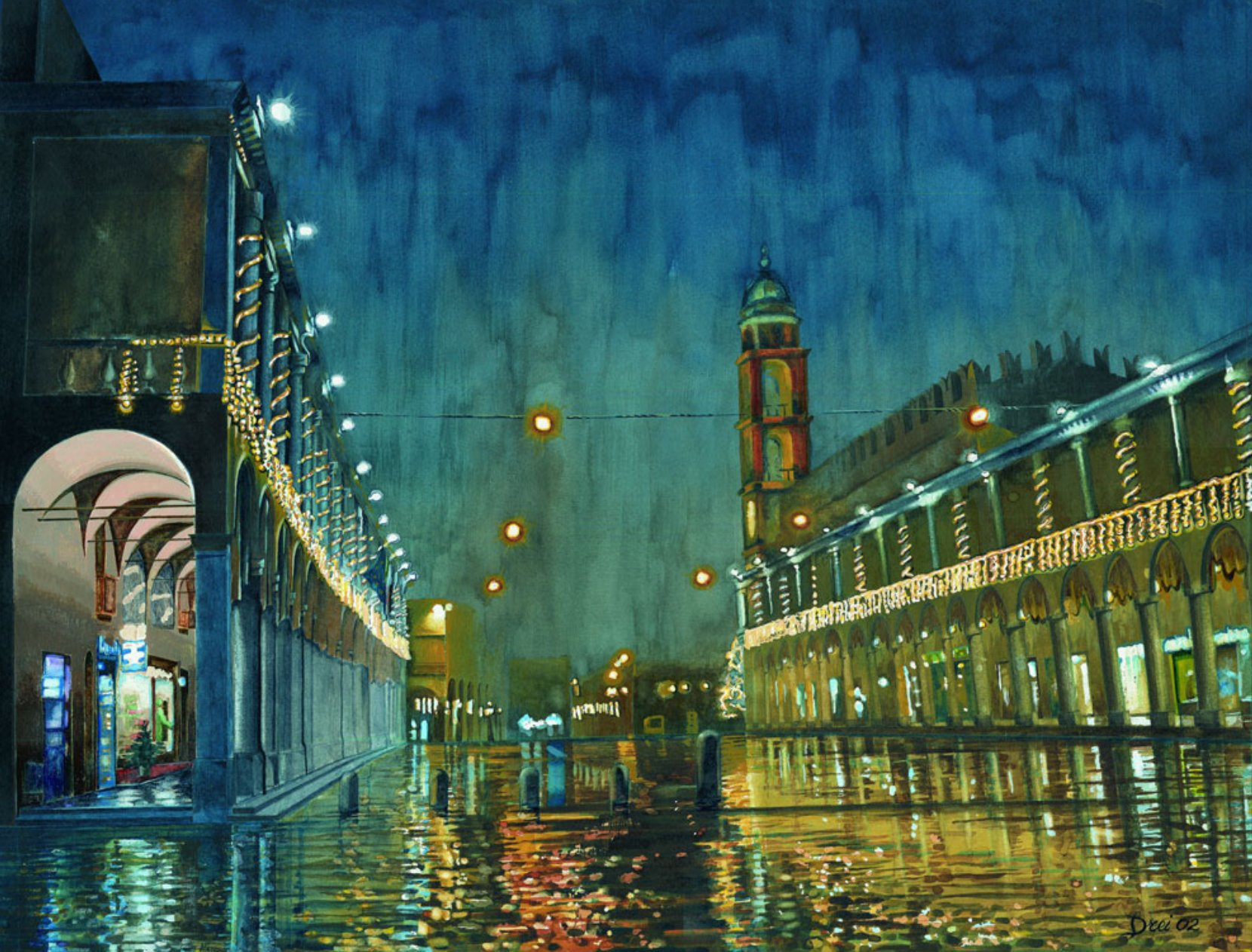 #LeLuciDInverno  Winter, rainy night in Faenza Silvano Drei©  b.1947 #DonneinArte @alecoscino  Goonight 🌃 https://t.co/dKrqM0utzW