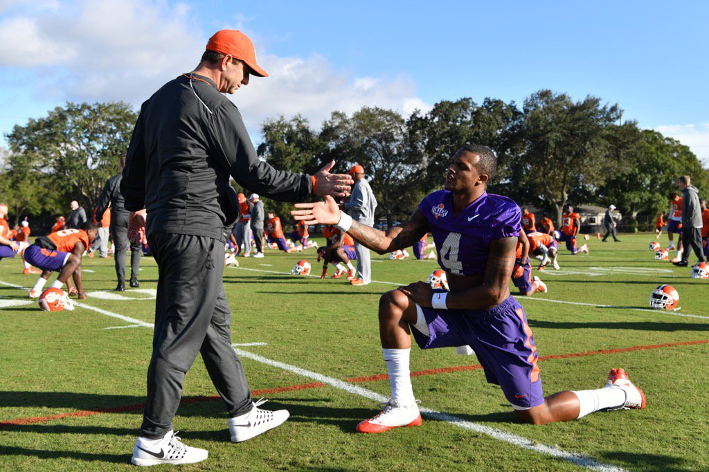 Locked in at today's practice at the Buccaneers facility. #Clemson https://t.co/Zke9puLakz