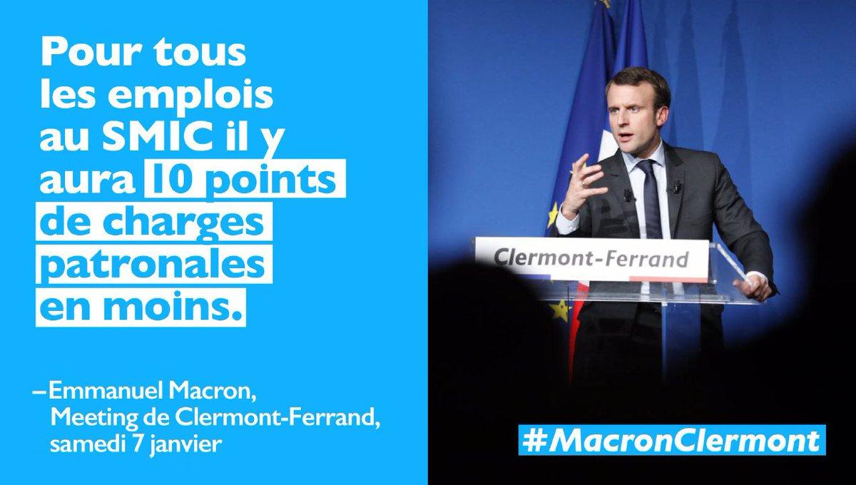 10 points de baisse de charges patronales pour les emplois au SMIC #Macron #EnMarche<br>http://pic.twitter.com/WZJTytkSxV