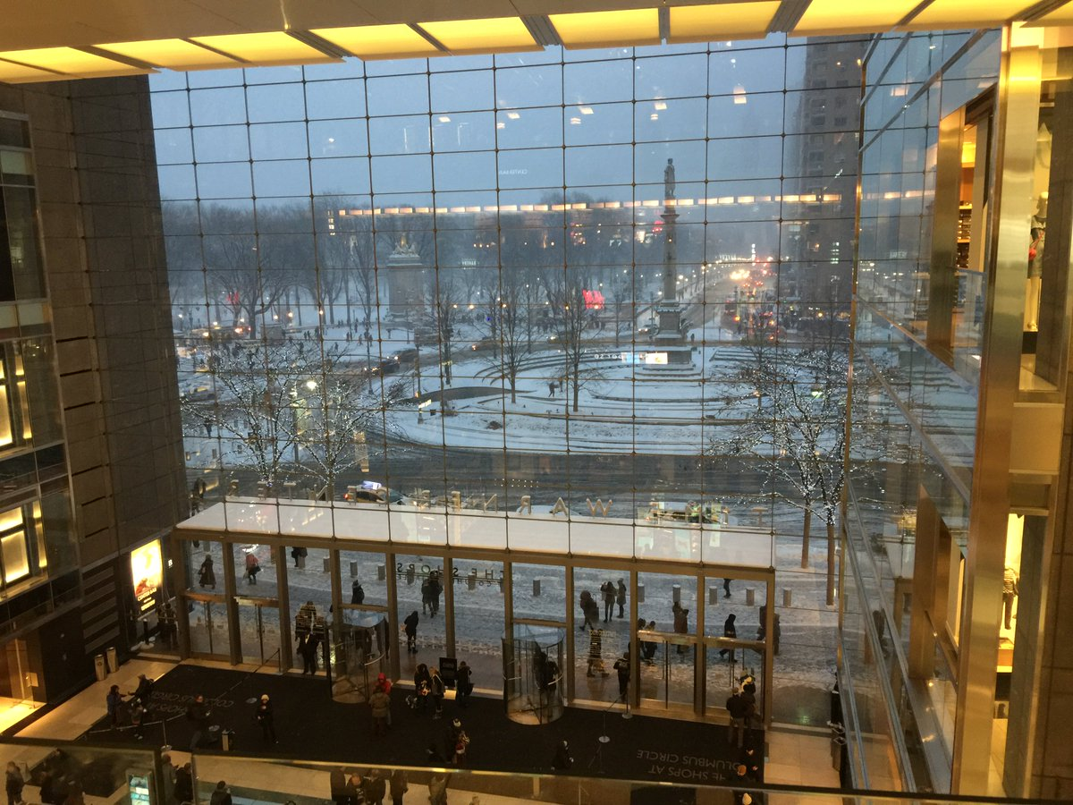 View of a snowy Columbus Circle from inside the Time Warner Center. #NYC #snowday #CentralPark https://t.co/LmjdSdyleT