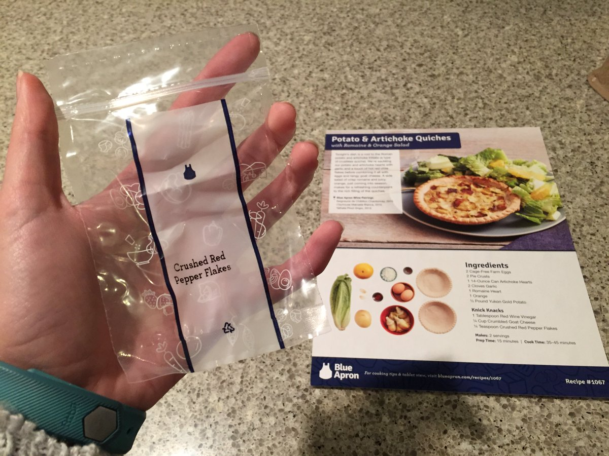 Blue apron quiche artichoke - Kristina Horner On Twitter Thanks For The Uh Red Pepper Flakes Blueapron Https T Co Uelyv2z8md