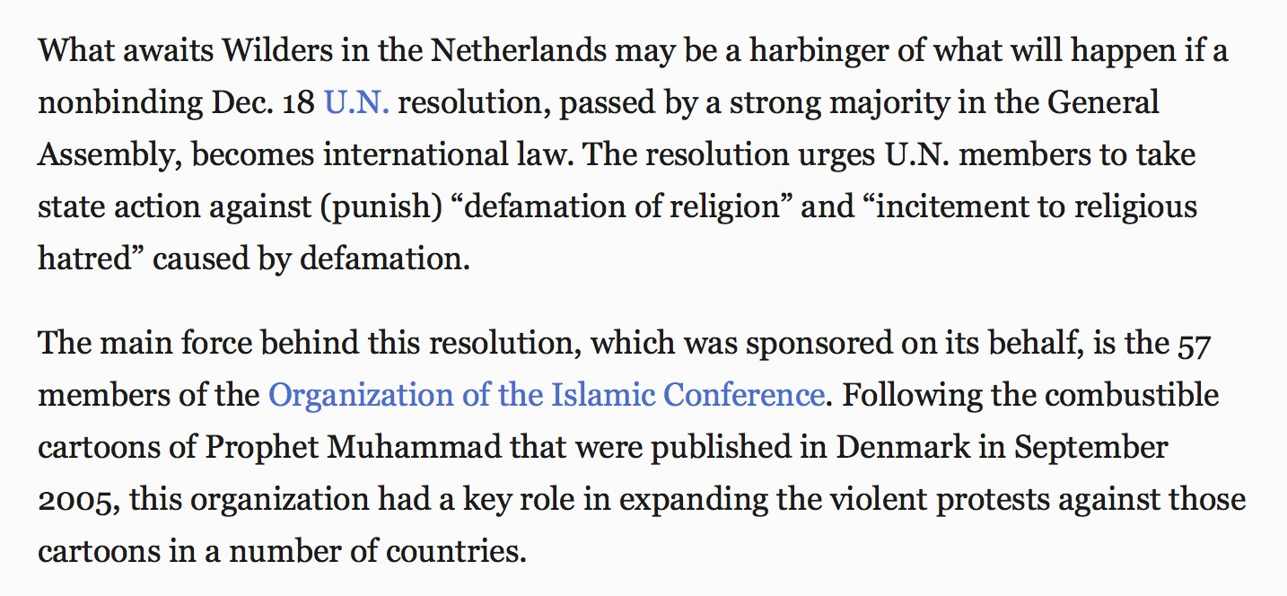 #NatHentoff was hip to the threat of Islamic blasphemy laws, the OIC & the Wilders trial. From a 2009 column: https://t.co/DdO55yS5gL https://t.co/MLmrL5tj89