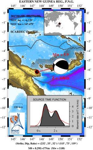 Mw=5.9, EASTERN NEW GUINEA REG., P.N.G. (Depth: 64 km), 2017/01/08 08:52:08 UTC