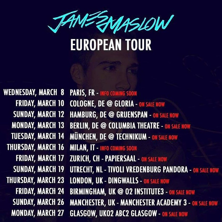 can't wait for the @jamesmaslow European tour. I'm gonna join for a couple dates. who's in europe... https://t.co/mHDhFWK8L5