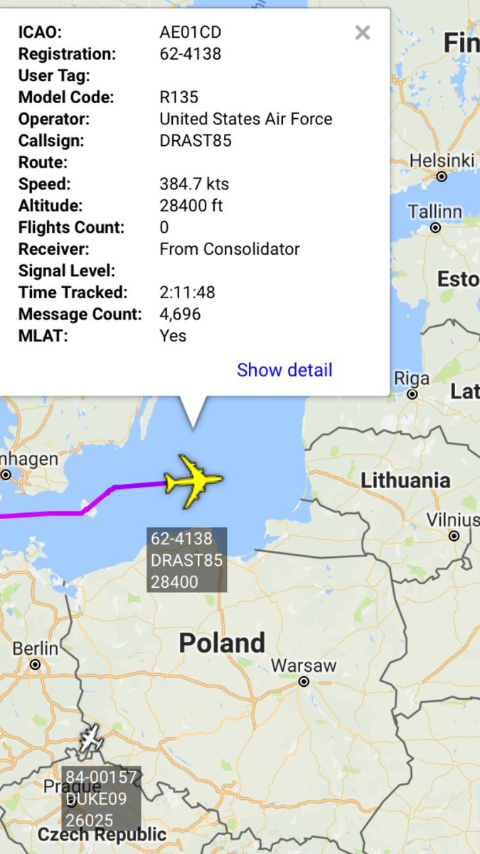 USAF RC-135W 62-4138 DRAST85 departed Mildenhall - Baltic mission