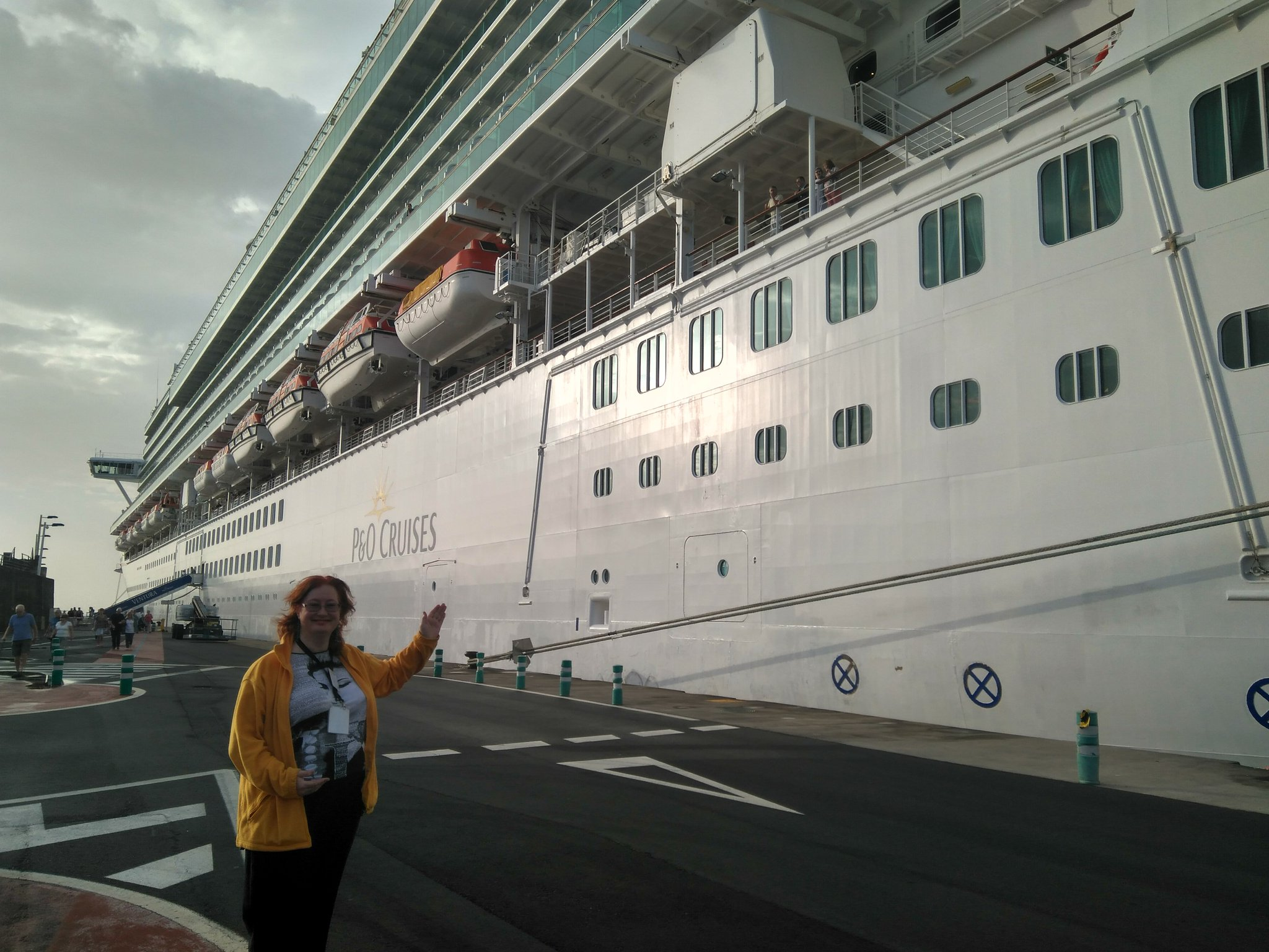 Me and the cruise ship Ventura in the harbour at Santa Cruz de La Palma
