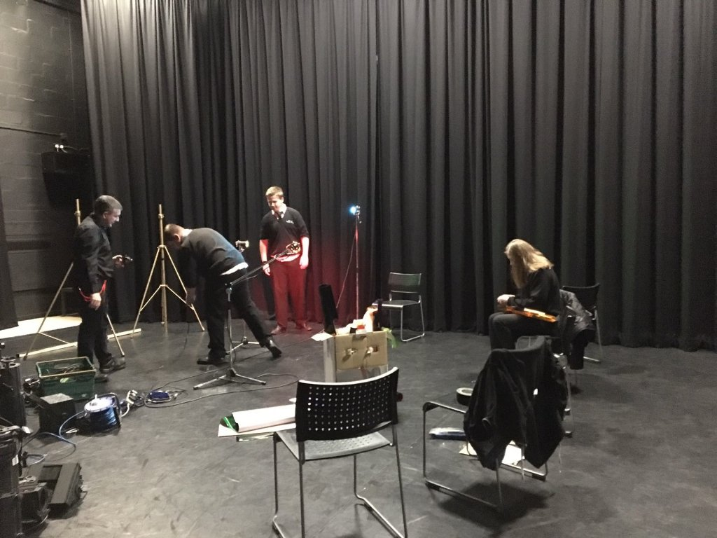 GCSE Drama students getting creative in a specialist theatre lighting workshop on Friday.