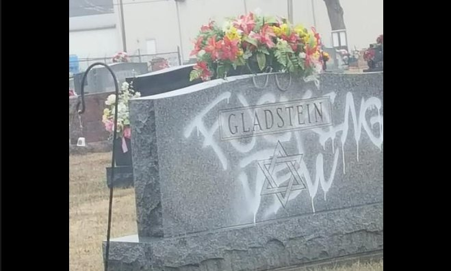 The vandalized Gladstein gravestone