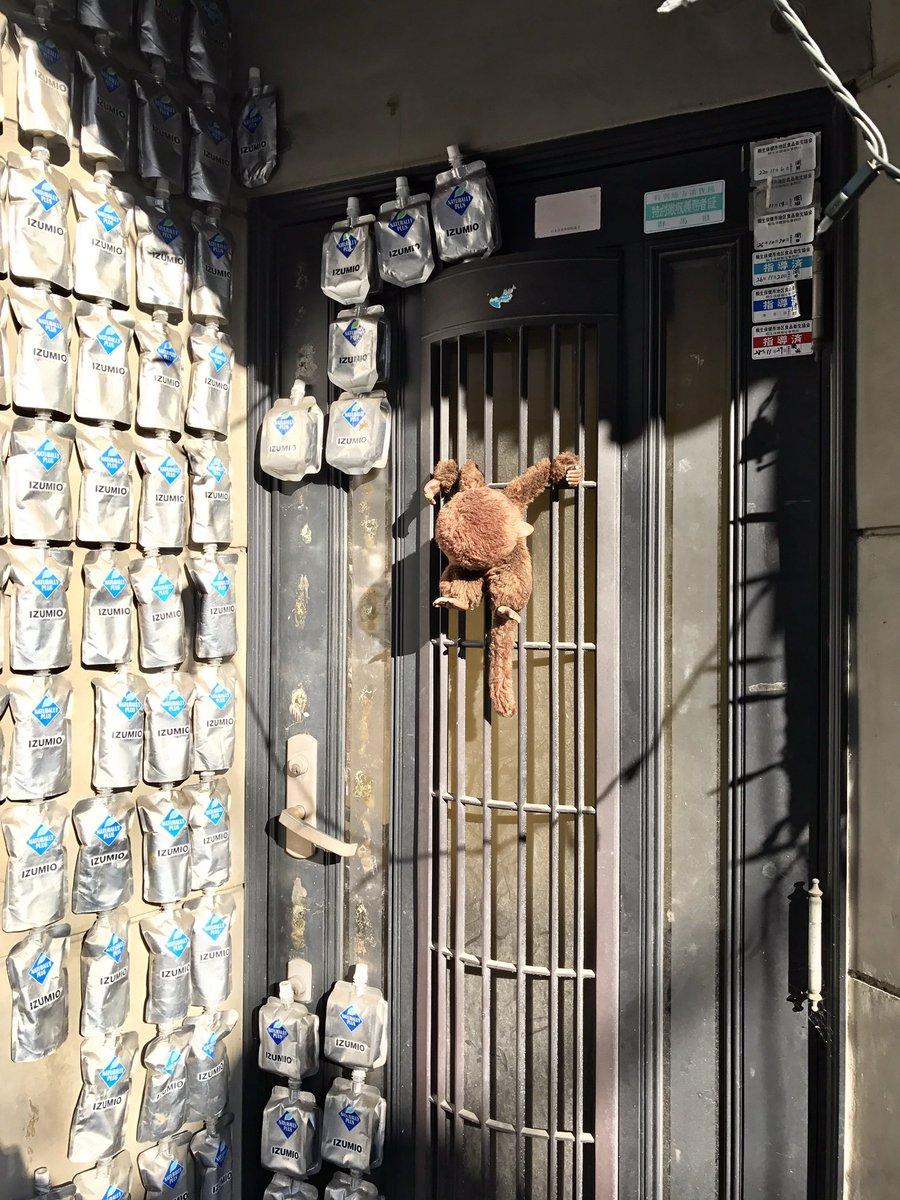 元旦に見かけた「大量のゼリー飲料を壁に貼り付けてモンチッチを磔にした家」