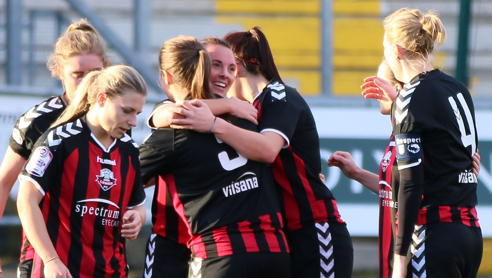 Leeta Rutherford is congratulated after scoring Lewes' second goal against Cardiff City, Jan 8 2017 (Photo: James Boyes)