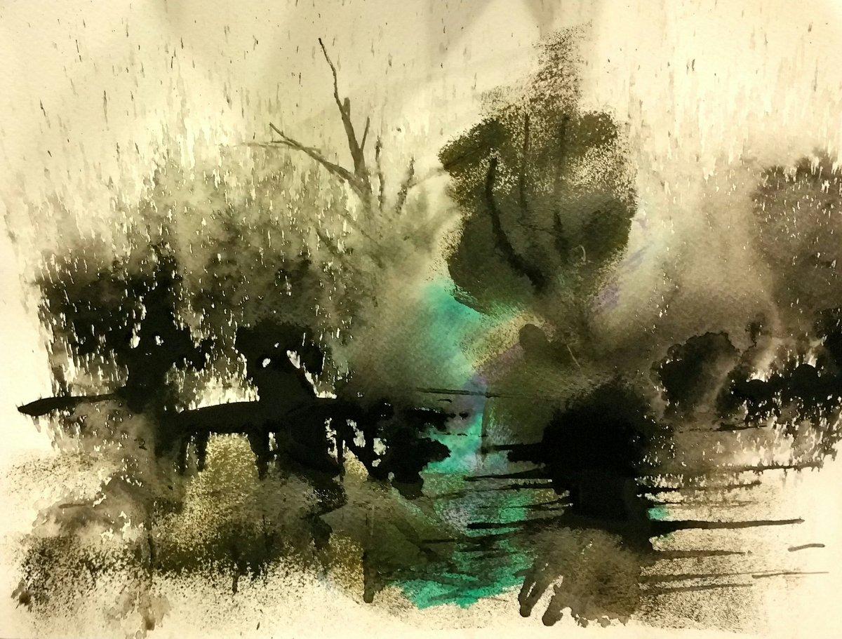 L&#39;#Eau;#encre #eau et #acrylique sur #papier #forêt #reflets<br>http://pic.twitter.com/cojfI3BFMn