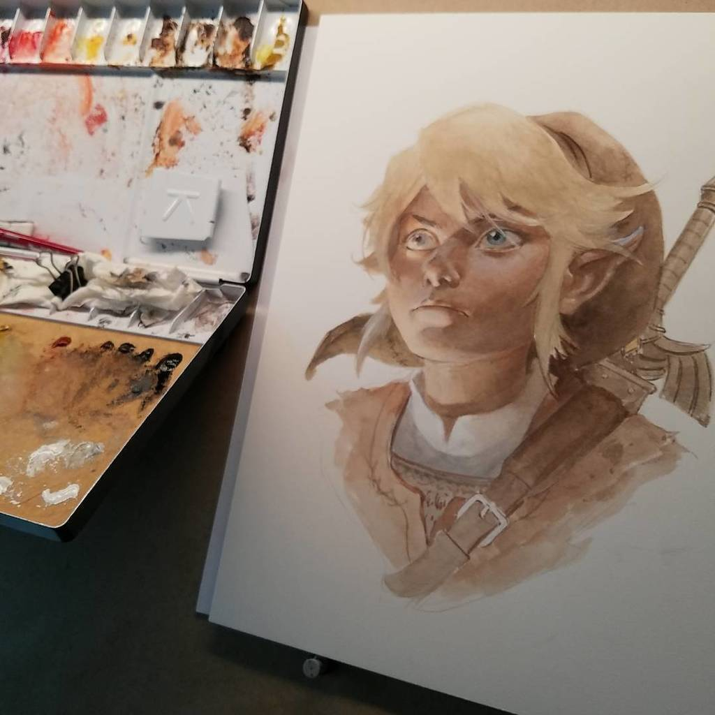 Never got into the game, but Link is fun to paint. #gouache #LegendofZelda https://t.co/W6DHCZVBwc