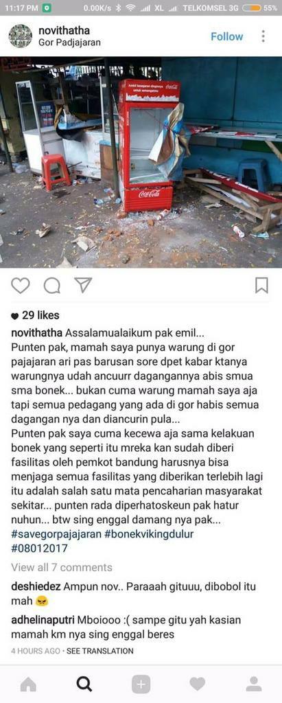 Kasian para pemilik warung di GOR Pajajaran Bandung :( cc @Lganufa https://t.co/E3siYXPGp1