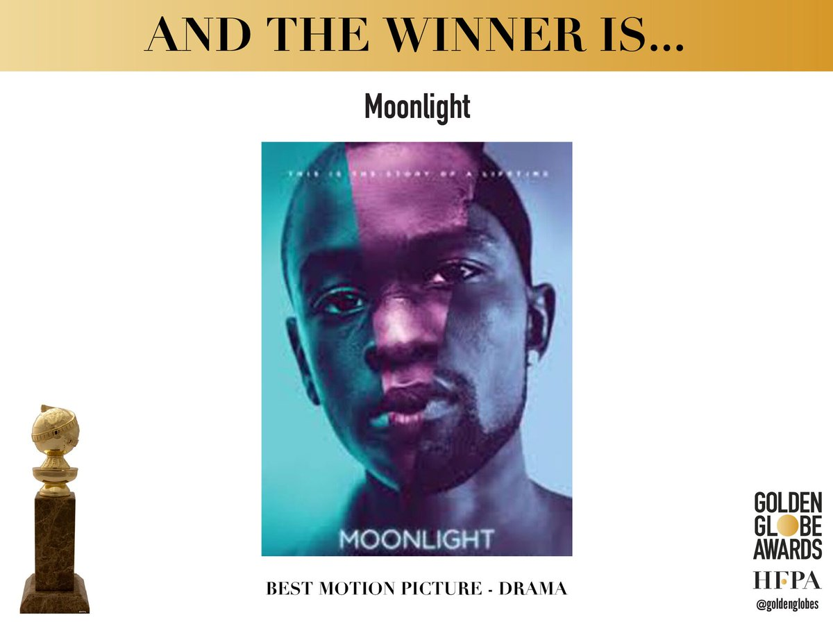 Congratulations to Moonlight (@moonlightmov) - Best Motion Picture - Drama - #GoldenGlobes https://t.co/NqBZd5uBso