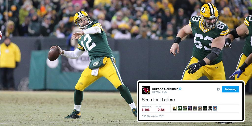 NFL: NFL players (and teams!) react on Twitter to the AaronRodgers12 HAIL MARY:  #NFLPlayo…