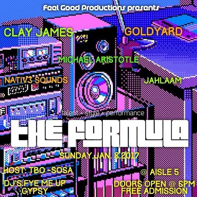 Supporting @goldyardmusic @jahlaam @WhoIsClayJames @mikeyaristotle tonight at #TheFormula #Aisle5 https://t.co/PtRI9RXvqS