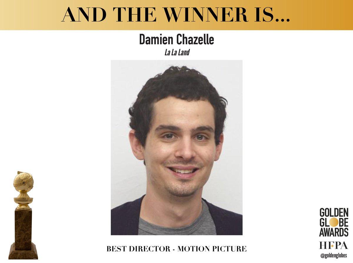 Congratulations to Damien Chazelle - Best Director - La La Land (@lalaland) - #GoldenGlobes <br>http://pic.twitter.com/LhI0hbDEU0