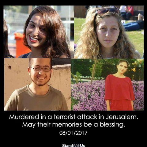 Les jeunes victimes israéliennes assassinées du #terroriste #Jerusalem  Yael Yekutiel (20) Shir Hajaj (22) Shira Tzur (20) Erez Orbach (20)<br>http://pic.twitter.com/Kv5F6voheU