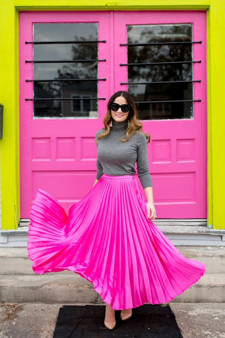 Pink Satin Pleated Midi Skirt