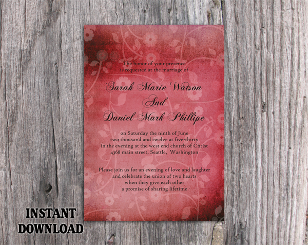 DIY Rustic Wedding Invitation Template Editable Word File Download Printable Invitation Wine Red Invitation Vintage Floral Invitation