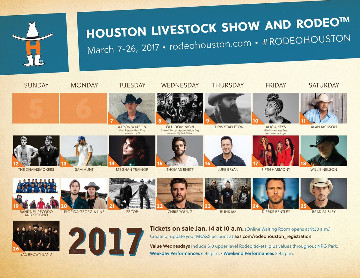 BREAKING: 2017 #RODEOHOUSTON Lineup is here! RT to your friends. https://t.co/9abuc9MLO0