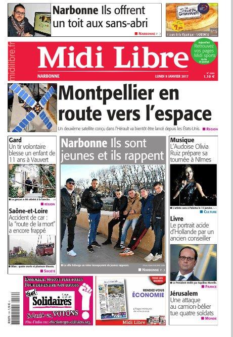 A la une de #MidiLibre #Narbonne ce lundi. - Les Narbonnais offrent un toit aux sans-abri - Ils sont jeunes et ils rappent<br>http://pic.twitter.com/lwbnkrNMry