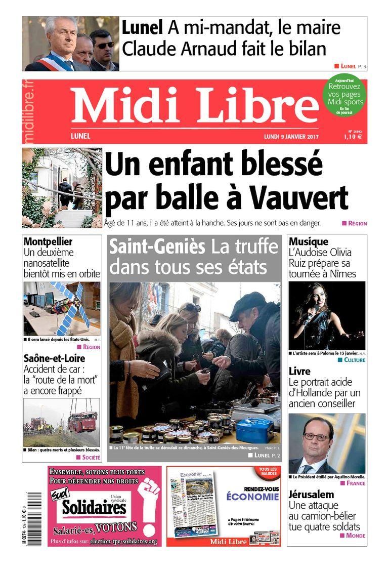 #Lunel A la une de #MidiLibre ce lundi 9 janvier <br>http://pic.twitter.com/jR3B2i0Cev