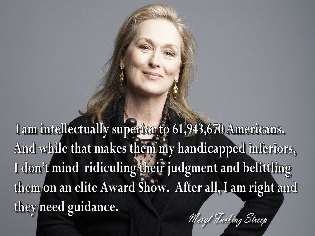 MERYL STREEP  She knows her #FakeNews is what&#39;s best for #America  #AmericaFirst #MAGA #GoldenGlobes  #LiberalLogic<br>http://pic.twitter.com/COH8yloVzV
