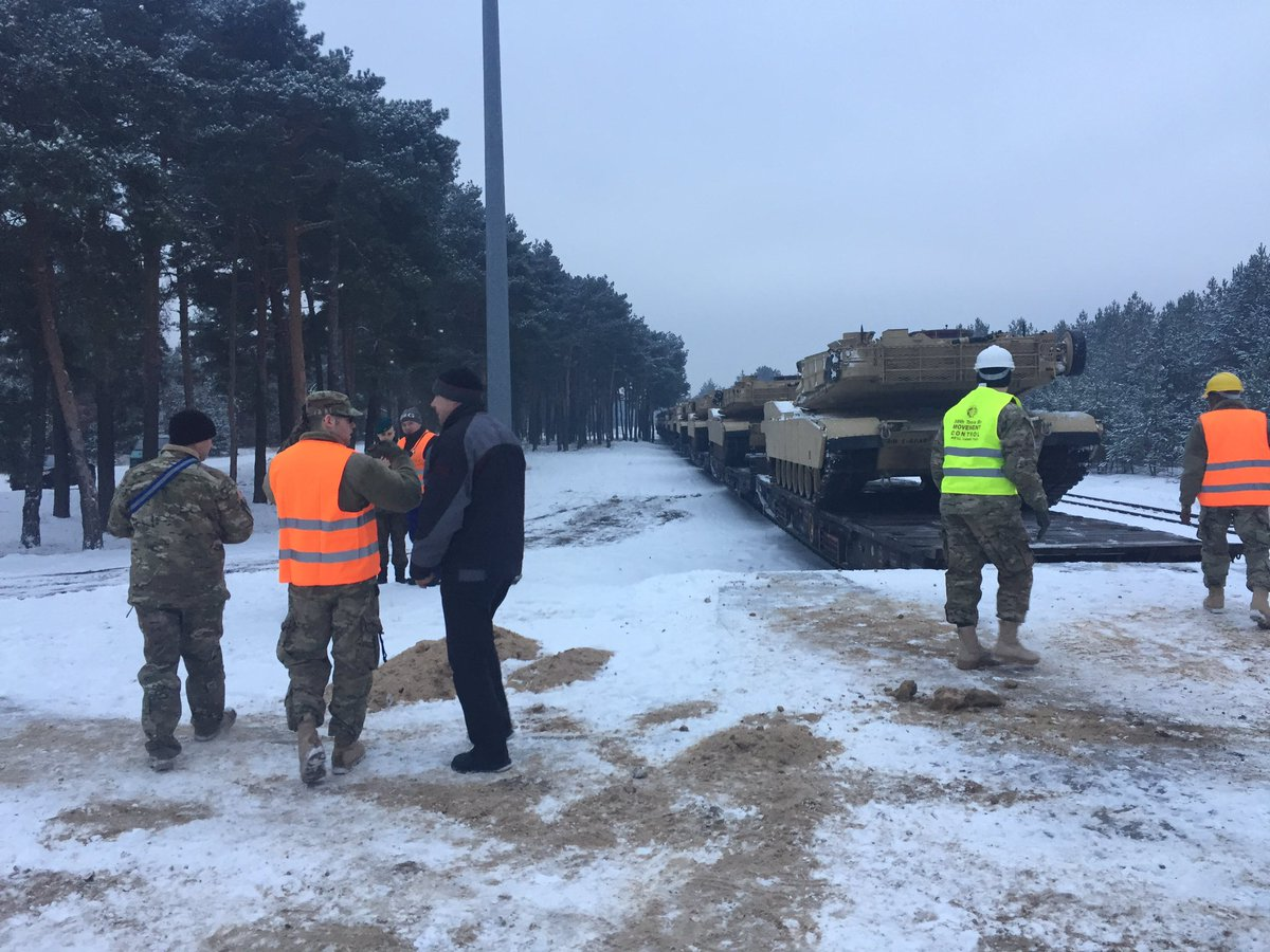 624 Trans. Detachment is preparing to offload the first tank in Poland