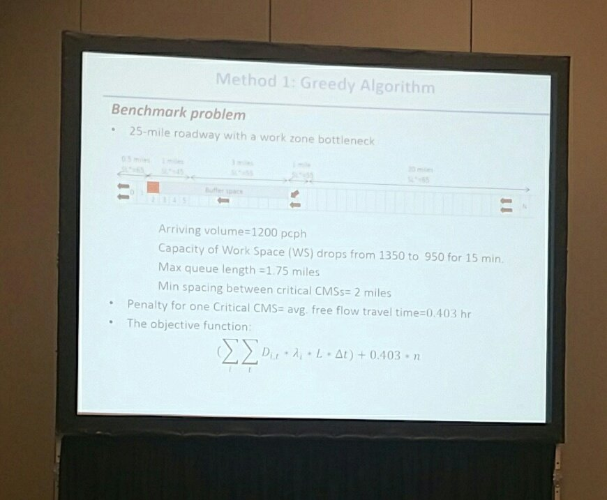 Hani Ramezani shares his greedy algorithm, 1 of 3 methods when locating signs for optimized speed harmonization  #TRBAM https://t.co/JXvTK91zRM