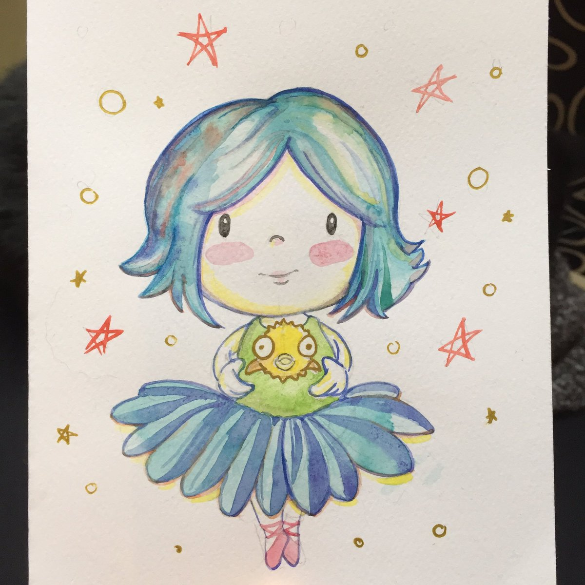#lucytheoctopus as a #human #balletdancer holding #puffy the #pufferfish!!! Love this! Art by @hello_vannim , commissioned by @Minximation<br>http://pic.twitter.com/BlkSJdYrE1