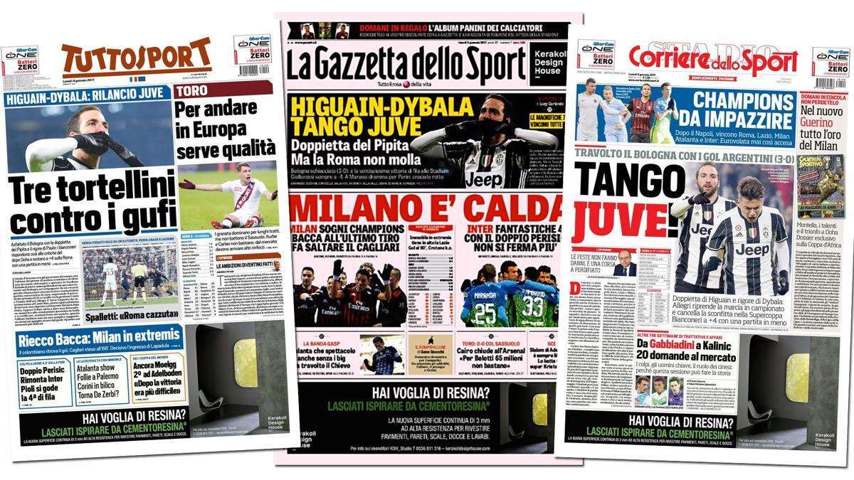 Juventus-Bologna 3-0: risultato della partita dell'08/01/2017