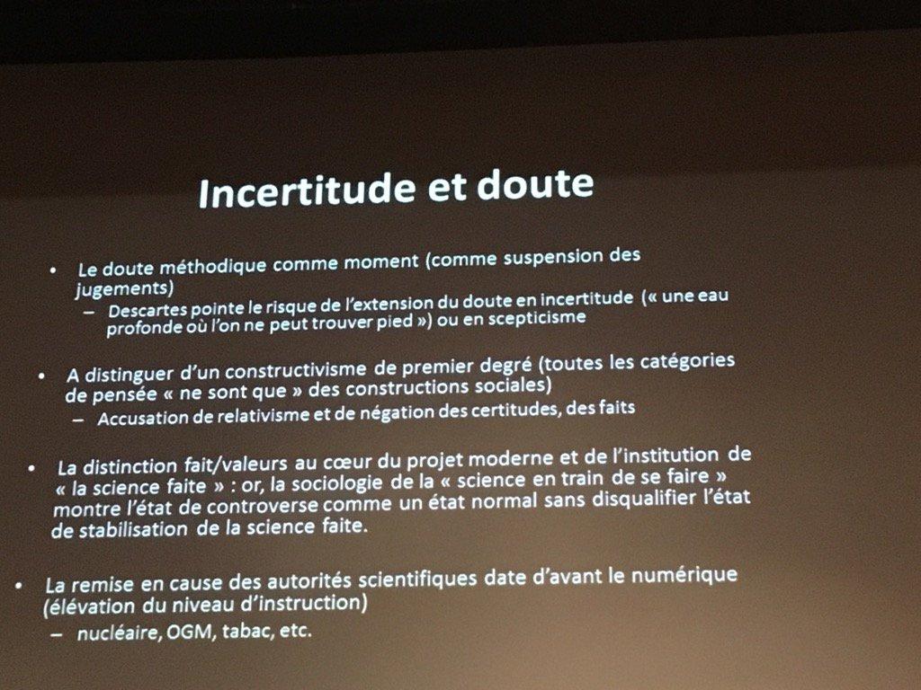#emiconf2017 D. Boullier Distinguer incertitude et doute ! https://t.co/q1w3KSRTOG