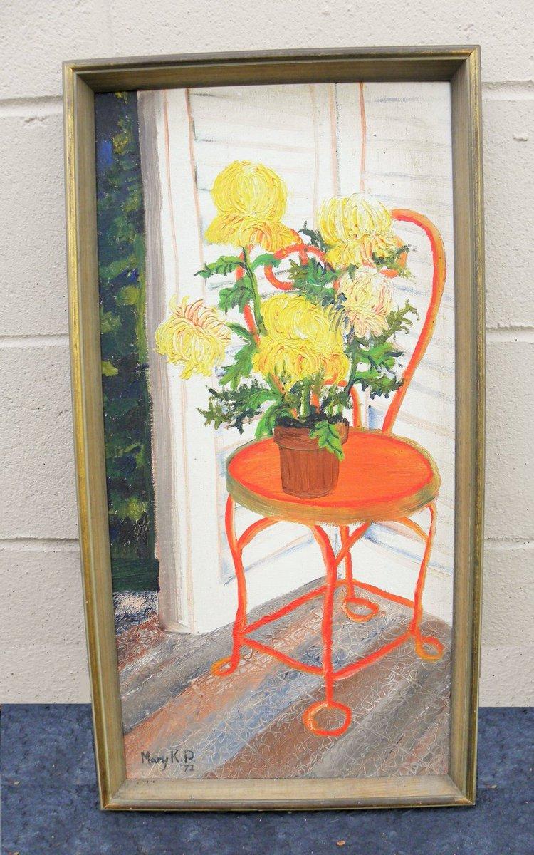 Vintage #Palette Knife #Painting, #Chrysanthemums #Flowers, #Peony  #Still life   http:// etsy.me/1VHdhdv  &nbsp;   #etsy<br>http://pic.twitter.com/ajiqdtRf0U