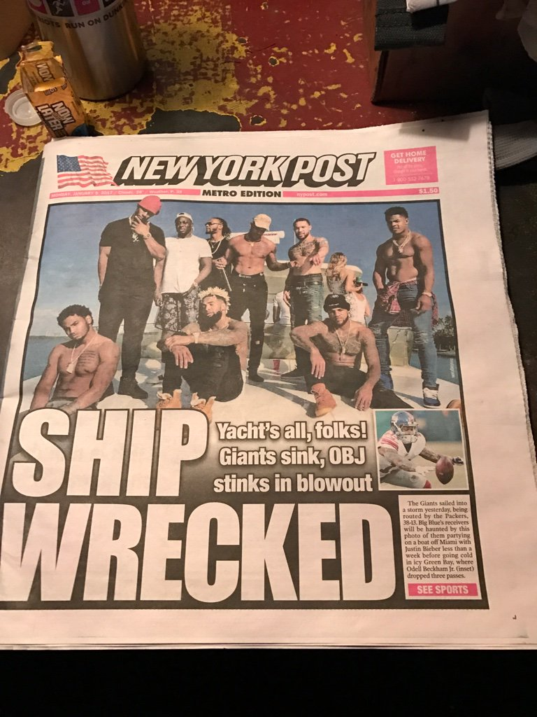 &quot;Ship Wrecked&quot; #Giants via @nypostsports #Wildcard #Playoffs #NYG #Packers #RoadToSB51<br>http://pic.twitter.com/UHftIPDYVa