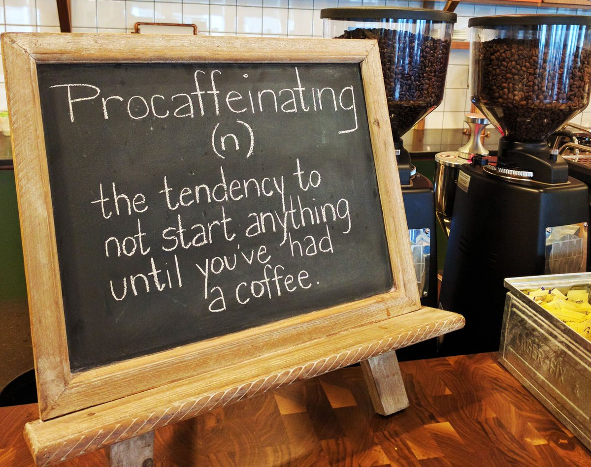 Procaffeinating (n): the tendency to not start anything until you've had a coffee ☕️ #MondayMotivation at @WeWork https://t.co/L5FVJx5MPd