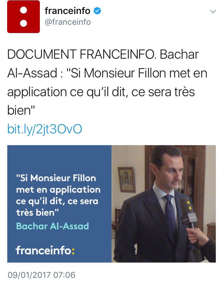 #Fillon reçoit le soutien (mérité) d&#39;#Assad. @lesRepublicains  http://www. lemonde.fr/election-presi dentielle-2017/article/2017/01/09/pour-bachar-al-assad-la-position-de-francois-fillon-sur-la-syrie-est-une-tres-bonne-chose_5059694_4854003.html &nbsp; … <br>http://pic.twitter.com/1yTWiY22rd