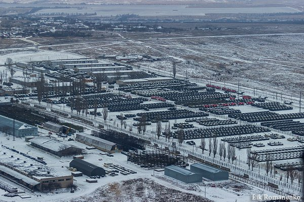 Photo shows large amount of Russian tanks and military vehicles in Rostov Oblast near Ukraine