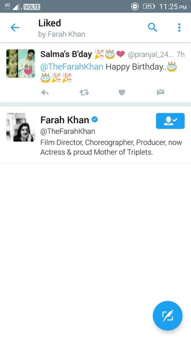 Omg can\t believe this THE FARAH KHAN LIKED MY message..  HAPPY BIRTHDAY FARAH MAM! I LOVE YOU..