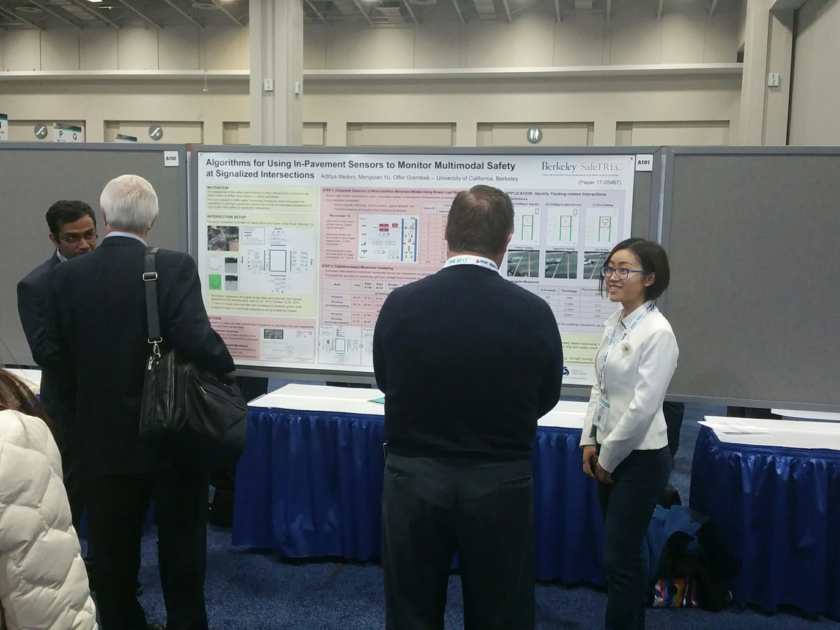 .@UCBSafeTREC's @amedury, Mengqiao share poster using in-pavement sensors 2 monitor multimodal safety @ signaled intersections #TRBAM https://t.co/6oZHyvHIg9