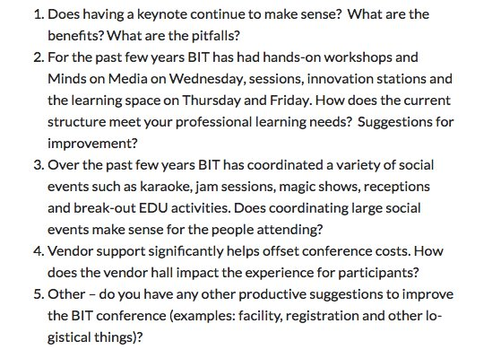 Hey #BIT16 participants! Ready to get your feedback on tomorrow in a twitter chat? 8pm Info: https://t.co/cMYMhLlHxt Questions attached https://t.co/IcSr9fNDVH