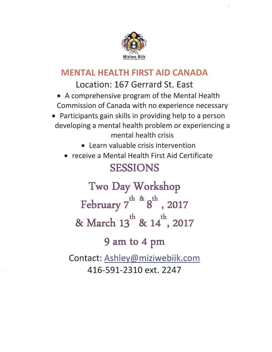 Miziwe Biik On Twitter New Dates For Mental Health First Aid