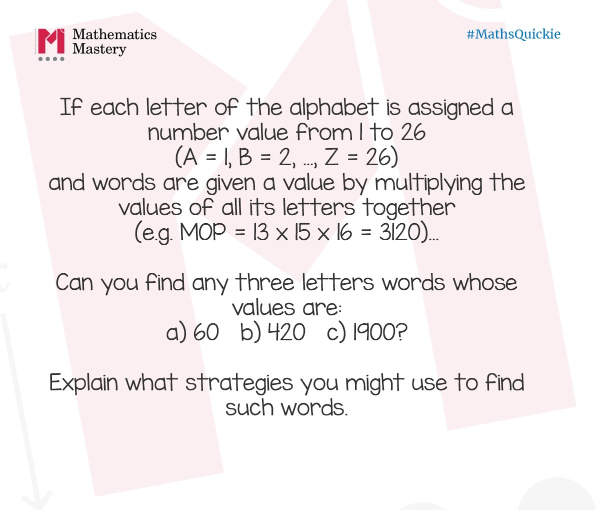 Mathematics Mastery On Twitter Mathsquickie If Letters Have
