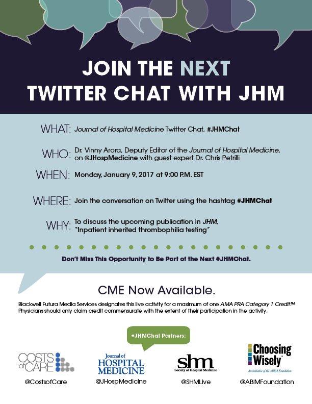 Join us TONIGHT for #JHMChat at 9PM EST w/ @JHospMedicine @FutureDocs & @PetrilliMD! Register here: https://t.co/UNVn5e1cXR @UM_IHPI #CME https://t.co/U5HMgsdFLA