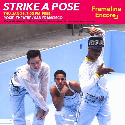 Watch the #FLEncore screening of @StrikeAPoseDocu on JAN 26 @roxietheater! A doc about the reunion of @Madonna&#39;s #BlondAmbition tour dancers <br>http://pic.twitter.com/W6o5rdSmV2