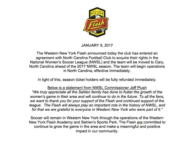 Official Statement regarding the rights of the Western New York Flash. https://t.co/xlE3HXHD3f