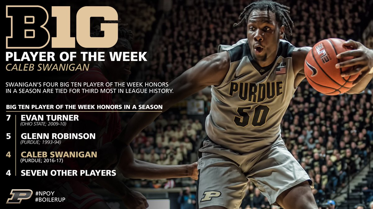 Purdue Mens Basketball On Twitter No 4 B1G Player Of The Week Honor For Purdues Swanigan Puts Him In Elite Company Season Is Half Over