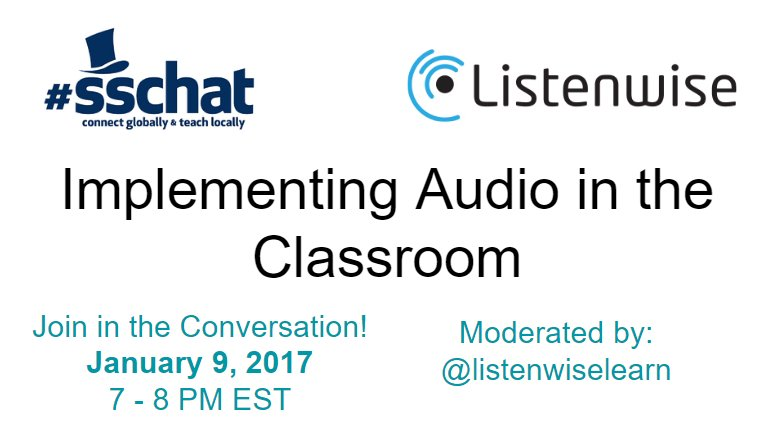 #sschat starts in one hour! Join us to talk about building listening skills. #edchat #engchat #sstlap https://t.co/0vR9zecpGU
